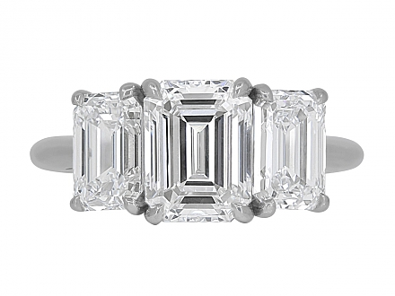 Tiffany & Co. Three Stone Diamond Ring in Platinum