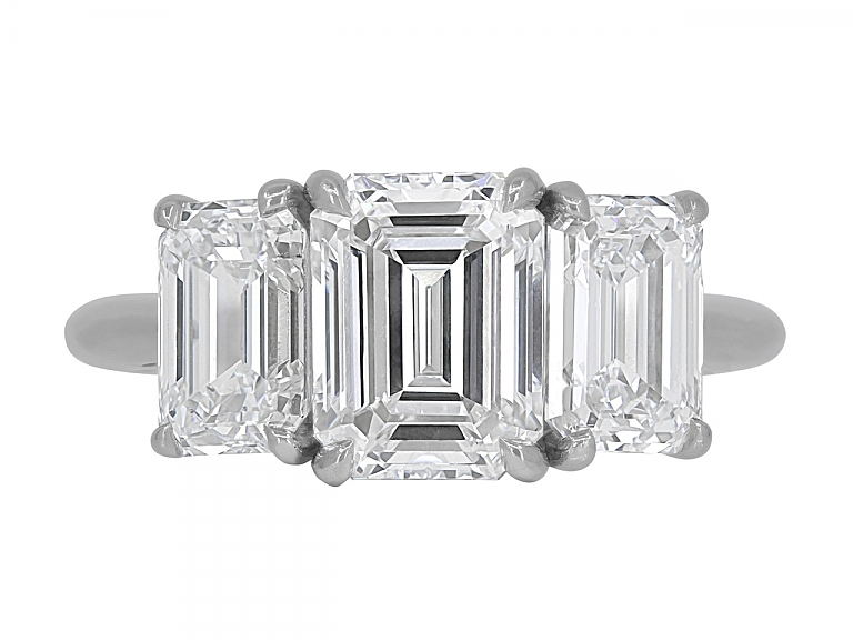 Video of Tiffany & Co. Three Stone Diamond Ring in Platinum