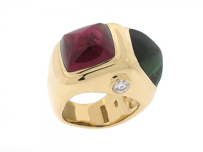 Video of Pink and Green Tourmaline Ring in 18K