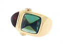 Pink and Green Tourmaline Ring in 18K