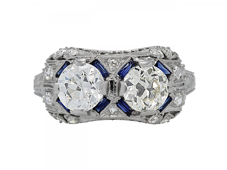 Video of Art Deco Diamond and Synthetic Sapphire Ring in Platinum