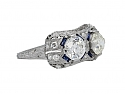 Art Deco Diamond and Synthetic Sapphire Ring in Platinum