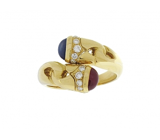 Bulgari Ruby and Sapphire Ring in 18K
