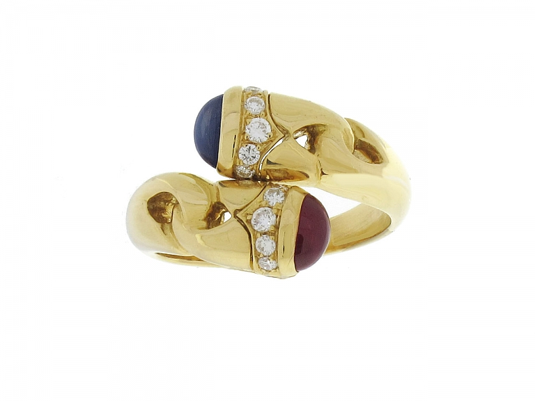 Video of Bulgari Ruby and Sapphire Ring in 18K
