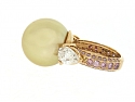 Gold South Sea Pearl and Pink and White Diamond Ring in 18K