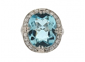 Mid-Century 6.30 Carat Aquamarine and Diamond Ring in Platinum