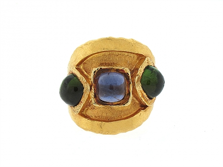 Jean Mahie Tanzanite and Green Tourmaline Ring in 22K