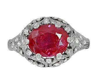 Antique Edwardian Ruby, 2.40 Carats Burma No Heat, and Diamond Ring in Platinum