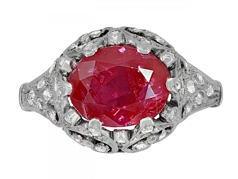 Video of Antique Edwardian Ruby, 2.40 Carats Burma No Heat, and Diamond Ring in Platinum