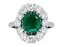 Mellerio dits Meller Emerald and Diamond Ring in Platinum