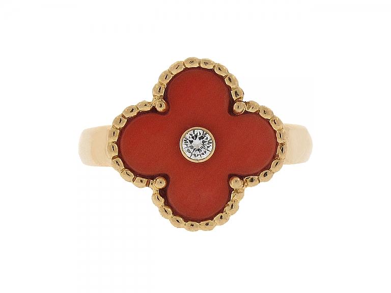 Video of Van Cleef Arpels 'Alhambra' Coral Ring in 18K