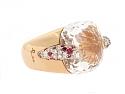 Pomellato White Topaz, Ruby and Diamond 'Pin Up' Ring in 18K