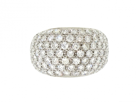 Domed Diamond Ring in 18K