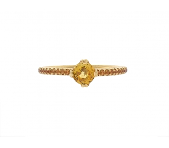 Micro Pave Yellow Sapphire Ring in 18K
