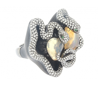 Dramatic Ebony Snake Ring with Mexican Opals and Diamonds in 18K