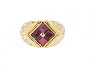 Bulgari Ruby and Diamond Ring in 18K