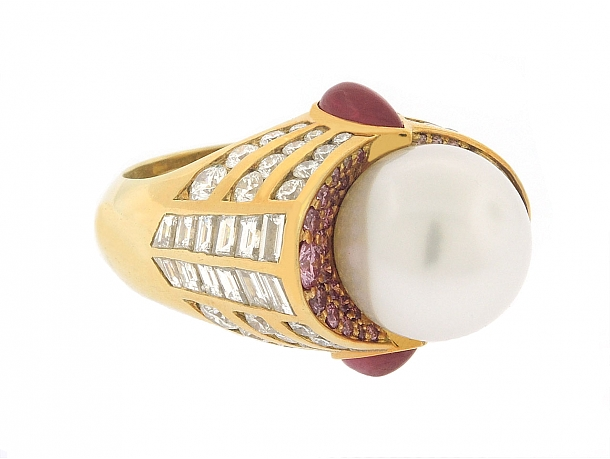 South Sea Pearl, Diamond and Ruby Ring in 18K