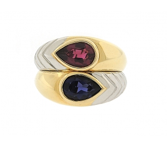 Bulgari Iolite and Rubellite Tourmaline Ring in 18K