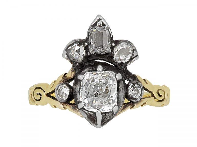 Video of Antique Georgian Crowned Heart Diamond Ring in 14K Gold