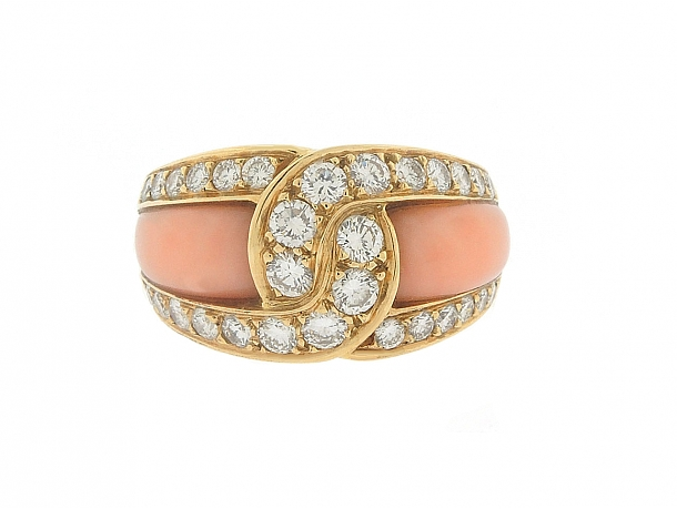 Van Cleef & Arpels Coral and Diamond Ring in 18K