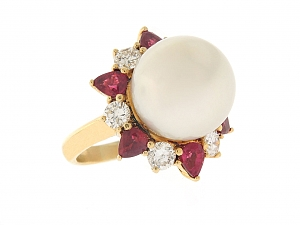 South Sea Pearl, Ruby and Diamond Ring in 18K