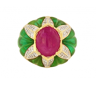 Cabochon Ruby, Green Glass and Diamond Ring in 18K