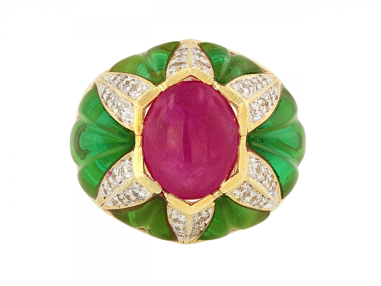 Video of Cabochon Ruby, Green Glass and Diamond Ring in 18K