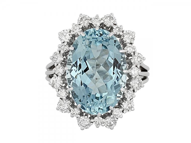 Video of Aquamarine and Diamond Ring in Platinum