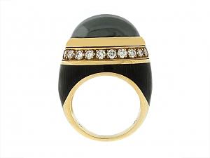 Hematite, Enamel and Diamond Ring in 18K
