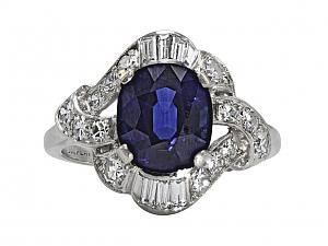 Cambodian No Heat Sapphire and Diamond Ring in Platinum