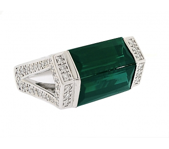Tourmaline and Diamond Ring in 18K White Gold