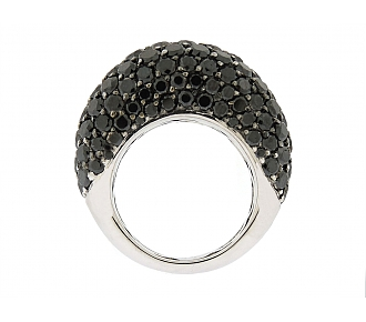 Black Diamond Boule Ring in 18K