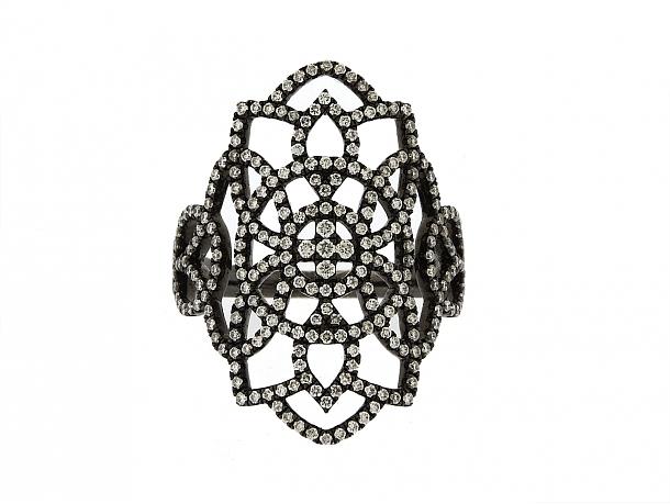 Pavé Diamond Ring in 18K Blackened Gold
