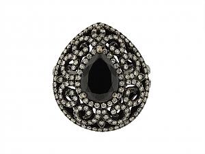 Black Diamond Filigree Ring in 18K Blackened Gold