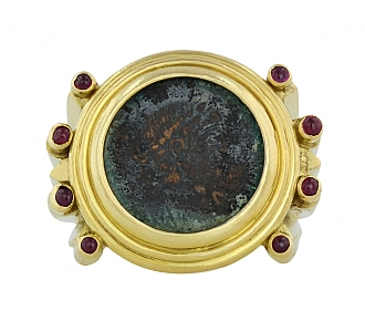 Elizabeth Gage Ancient Coin Ruby Ring in 18K Gold