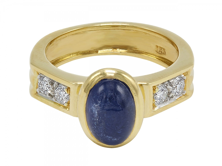 Video of Cabochon Sapphire and Diamond Ring in 18K Gold