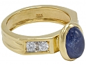 Cabochon Sapphire and Diamond Ring in 18K Gold