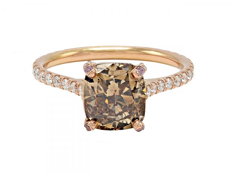 Video of Beladora 'Bespoke' Fancy Dark Orange-Brown Diamond Ring in 18K Rose Gold