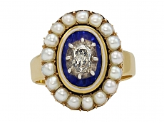 Georgian Enamel, Diamond and Pearl Ring in 14K Gold
