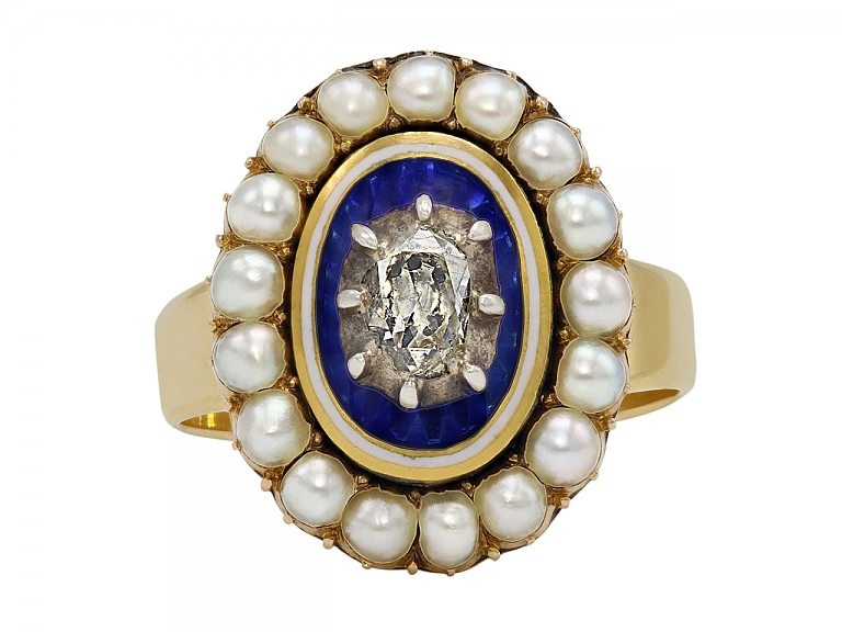Video of Georgian Enamel, Diamond and Pearl Ring in 14K Gold
