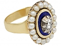 Georgian Enamel, Diamond and Pearl Ring in 14K Gold