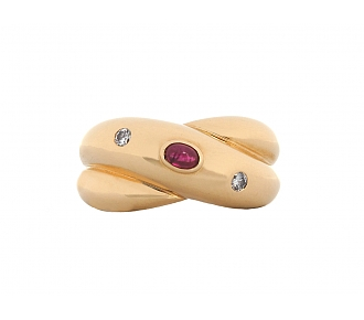 Cartier 'Colisee' Ruby and Diamond Ring in 18K Gold
