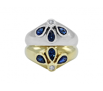 Faraone Sapphire and Diamond in Bi-color 18K Gold