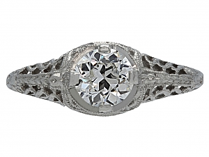 Art Deco 0.62 carat I/VS-1 Diamond Solitaire Ring in Platinum