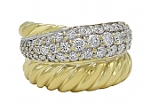 David Yurman Large 'Crossover' Diamond Ring in 18K Gold