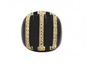 David Webb Black Enamel and Pave Diamond Ring in 18K Gold