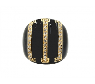 David Webb Black Enamel and Pave Diamond Ring in 18K Gold