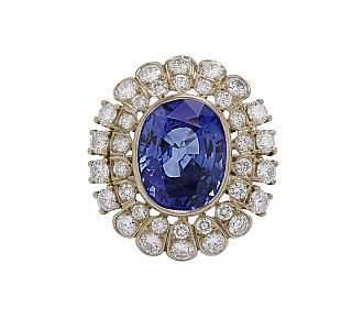 Sapphire, 10.46 carat, and Diamond Ring in 18K White Gold