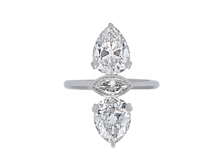Video of Beladora 'Bespoke' Twin Old-cut Pear and Marquise Diamond Ring in Platinum