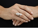 Beladora 'Bespoke' Twin Old-cut Pear and Marquise Diamond Ring in Platinum